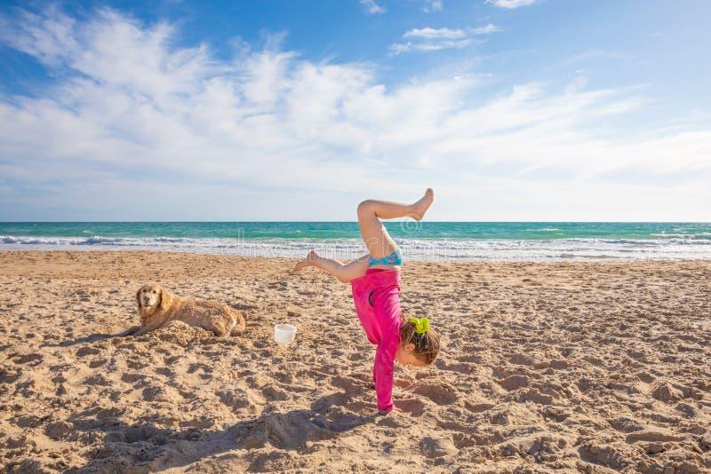 Liten flicka som gör handstans på sandstranden bredvid en hund royaltyfria bilder
