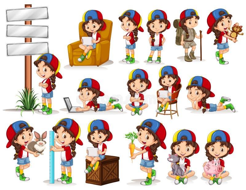 Liten flicka som gör olika aktiviteter stock illustrationer
