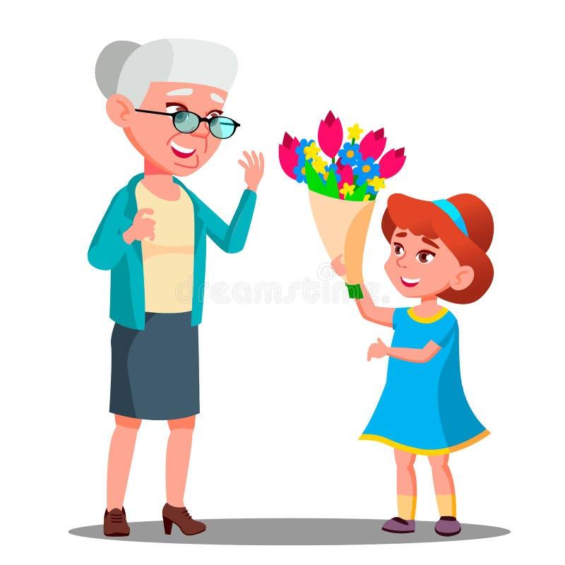 Liten flicka som ger blommor till farmorvektorn illustration royaltyfri illustrationer