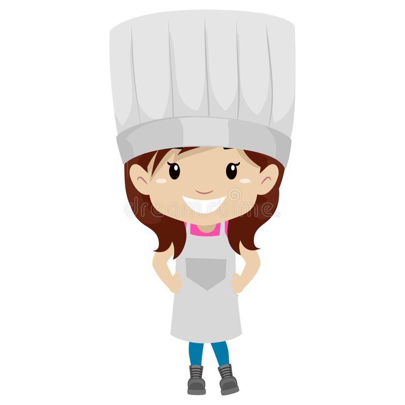 Liten flicka som kläs som en kock royaltyfri illustrationer