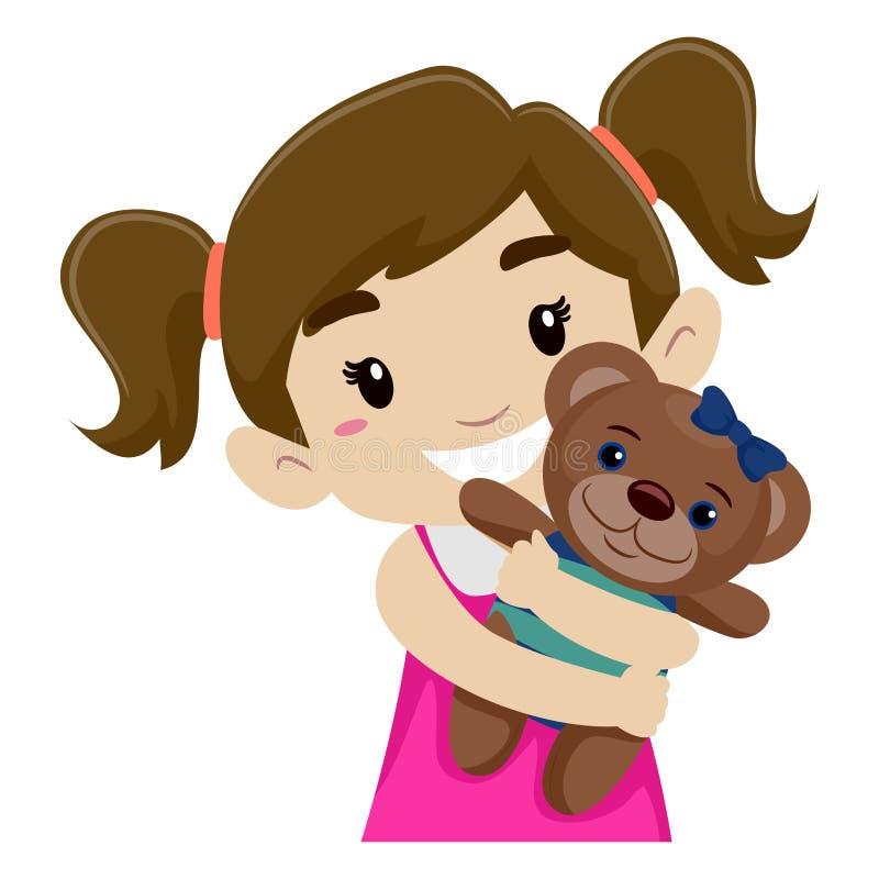 Liten flicka som kramar hennes Teddy Bear stock illustrationer