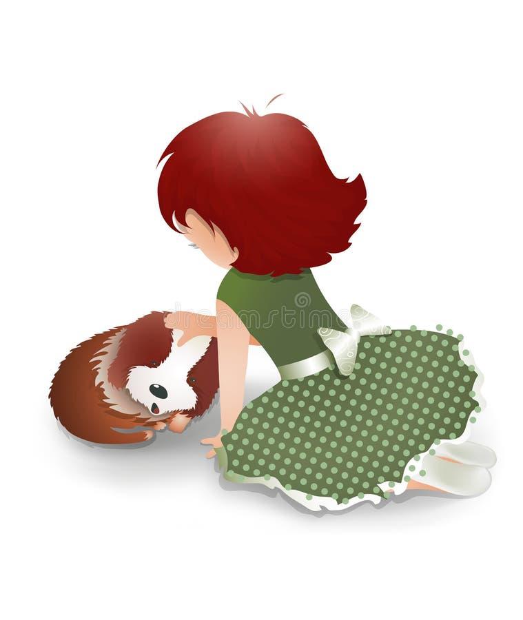 Liten flicka som leker med en gullig liten hund stock illustrationer