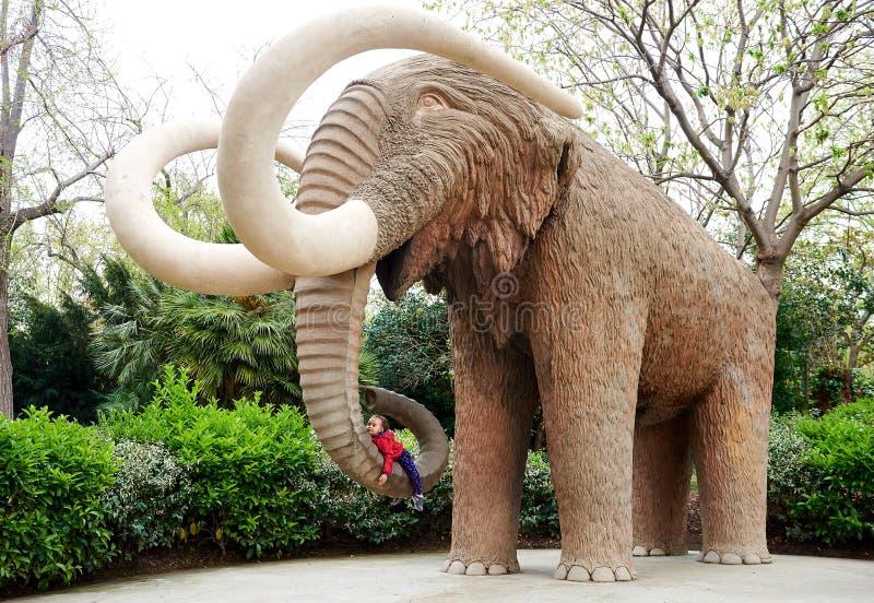 Liten flicka som ligger på en elefants snabel arkivfoton