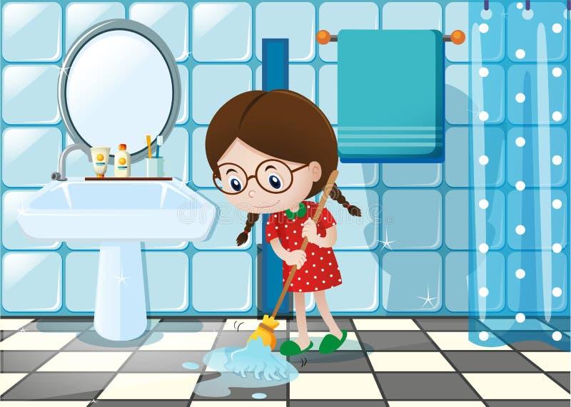Liten flicka som moppar det våta golvet i badrum stock illustrationer