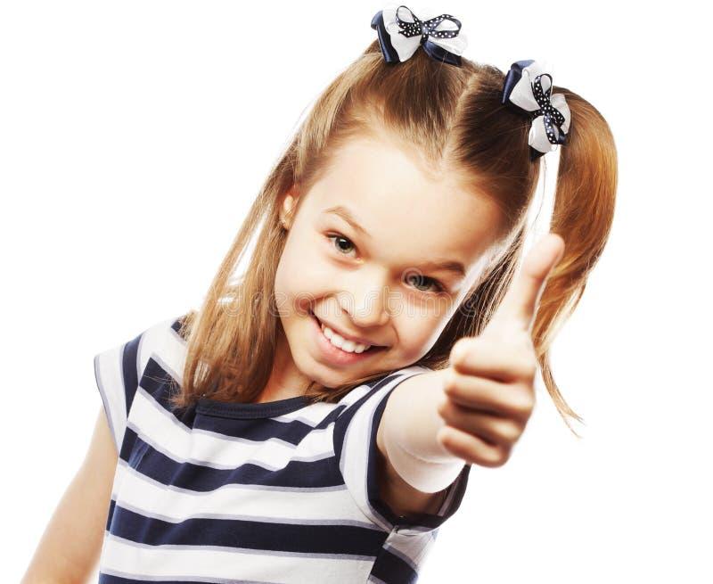 liten flicka som ok visar royaltyfria foton