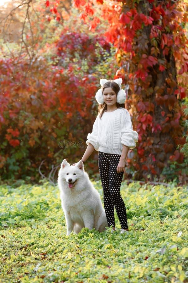 Liten flicka som omfamnar hennes hund i en parkera royaltyfri bild