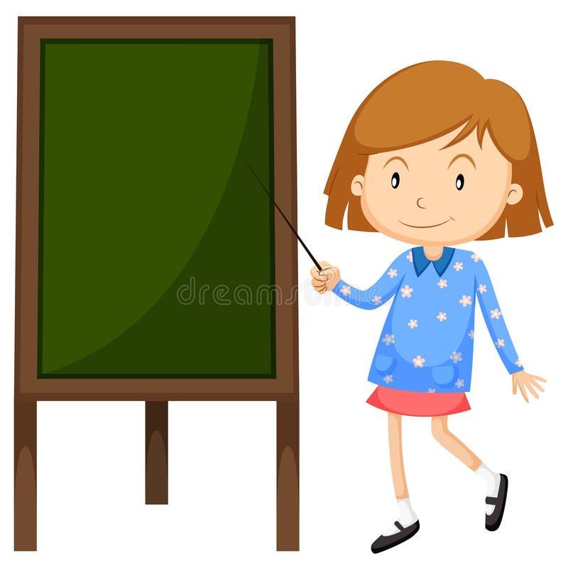 Liten flicka som pekar på brädet royaltyfri illustrationer