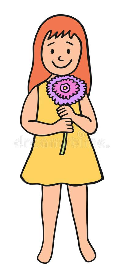 Liten flicka som rymmer en stor blomma royaltyfri illustrationer
