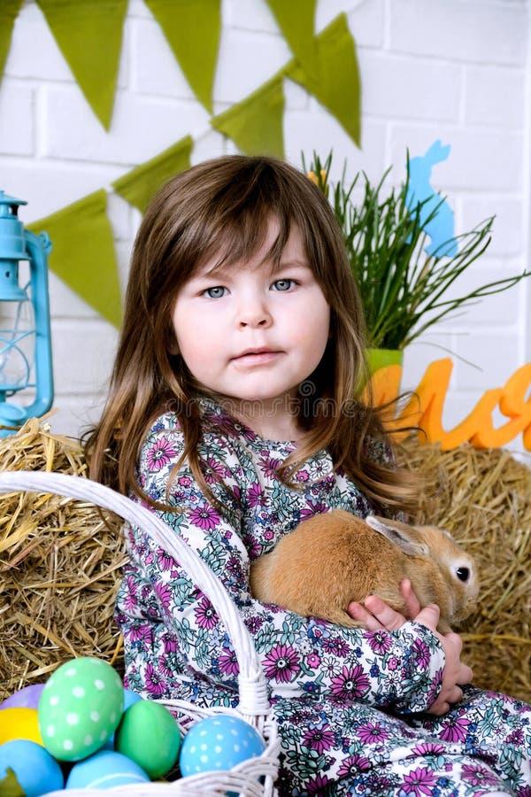 Liten flicka som rymmer ett fluffigt begrepp för kaninpåskvår royaltyfria foton