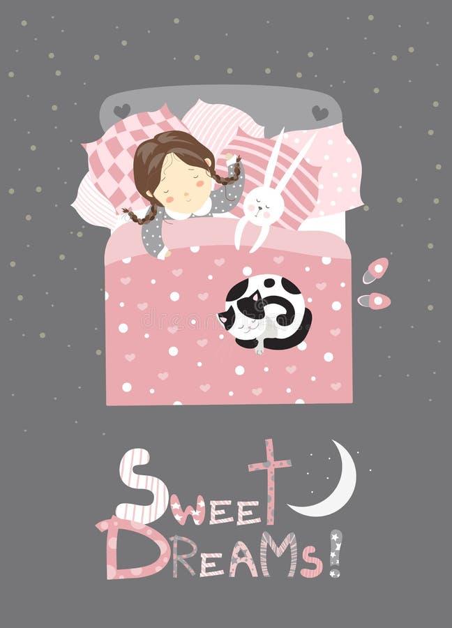 Liten flicka som sover med katten vektor illustrationer