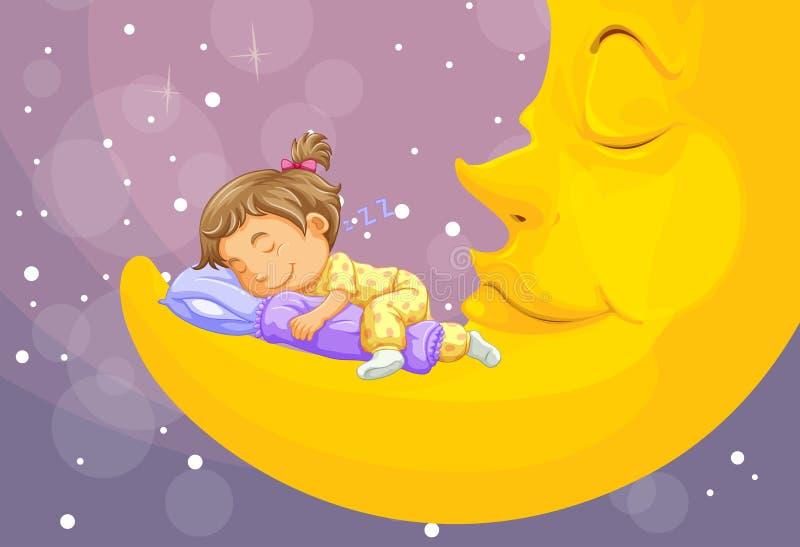 Liten flicka som sover på månen royaltyfri illustrationer