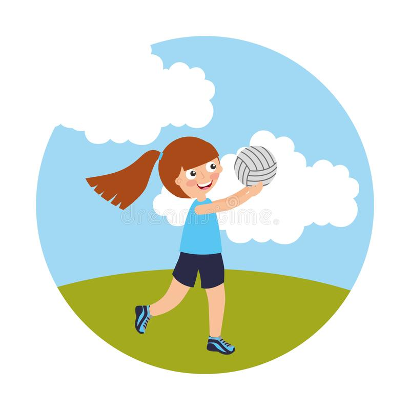 Liten flicka som spelar den volleyboll isolerade symbolen vektor illustrationer