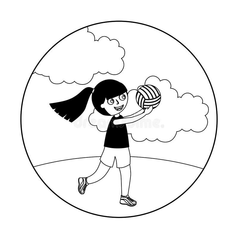 Liten flicka som spelar den volleyboll isolerade symbolen royaltyfri illustrationer