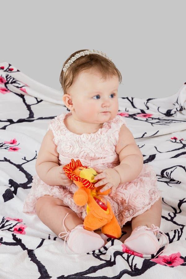 Liten flicka som spelar leksaken royaltyfria bilder