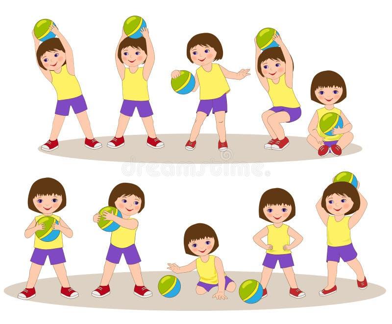 Liten flicka som spelar med bollen stock illustrationer