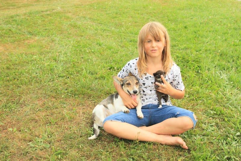 Liten flicka som spelar med katten och hunden arkivfoton