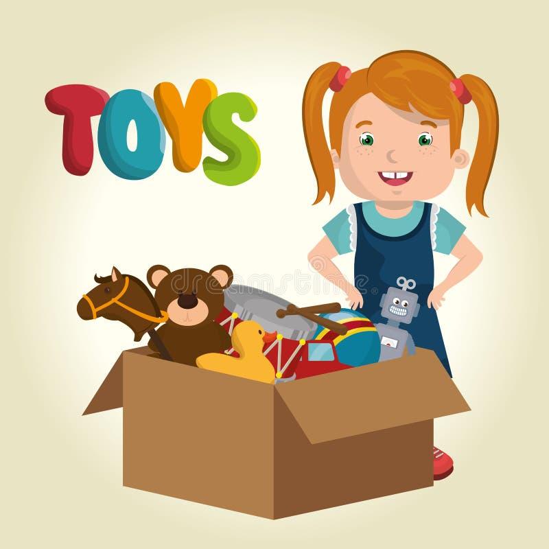 Liten flicka som spelar med leksakteckenet vektor illustrationer