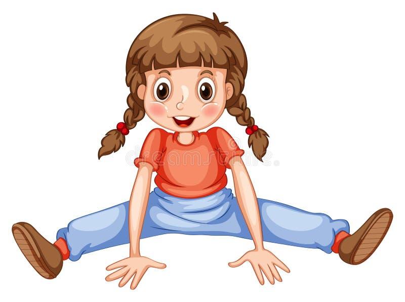 Liten flicka som sträcker henne ben stock illustrationer