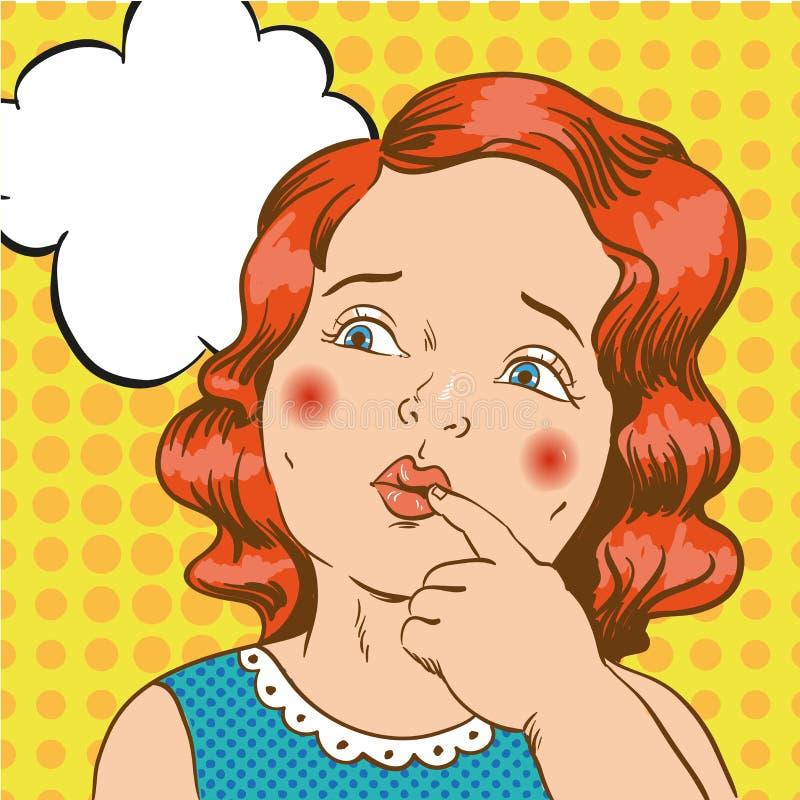 Liten flicka som tänker om något Vektorillustration i komisk retro stil för popkonst stock illustrationer