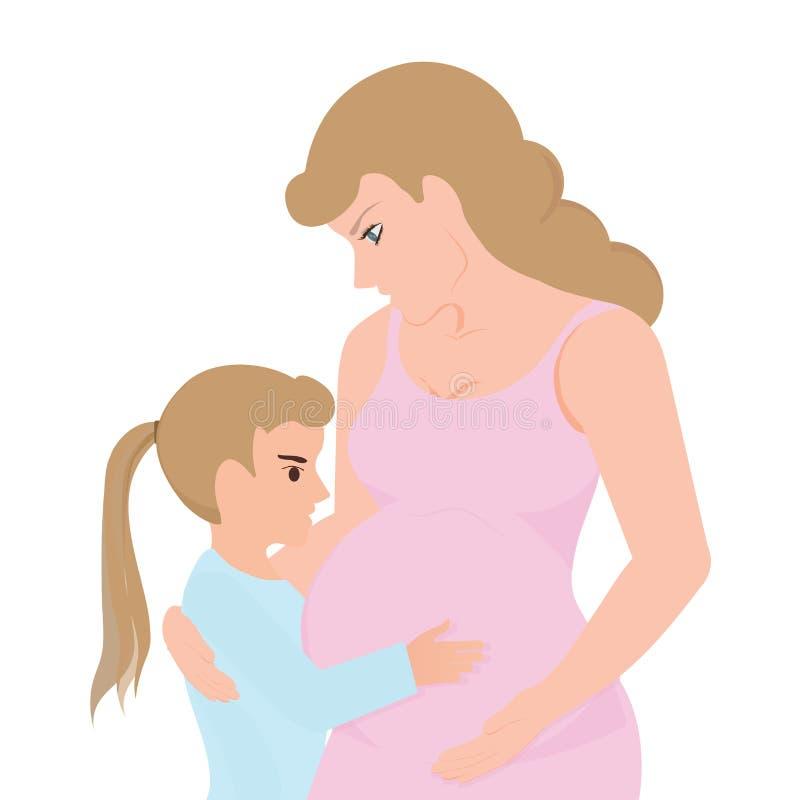 Liten flicka som trycker på hennes gravida mammabuk vektor illustrationer