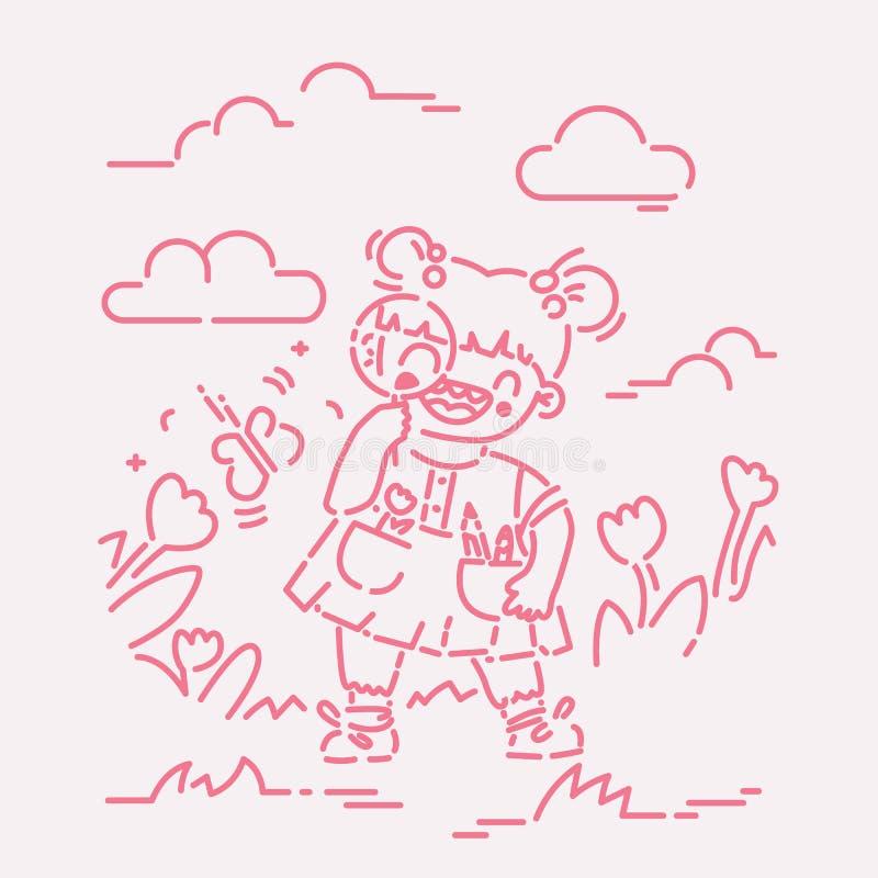 Liten flicka som upptäcker naturen med förstoringsglasvektorillustrationen, plan linje stil stock illustrationer
