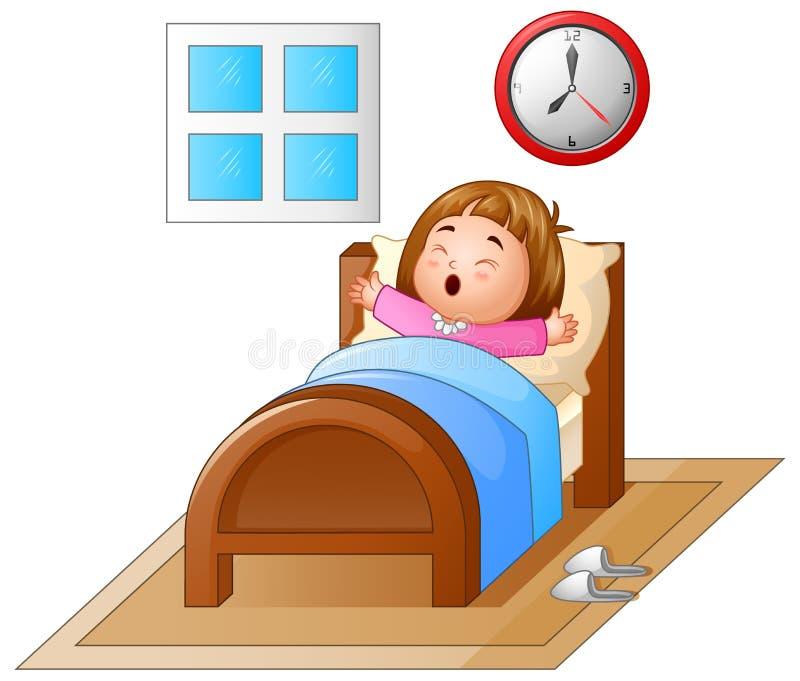 Liten flicka som vaknar upp i en säng och gäspa vektor illustrationer