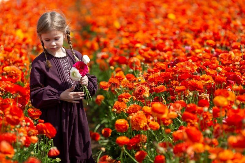Liten flicka under blommor på en solig dag i bygden arkivbild