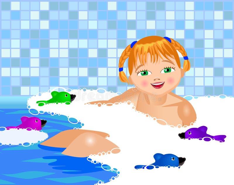 Liten flickabad i ett bad royaltyfri illustrationer