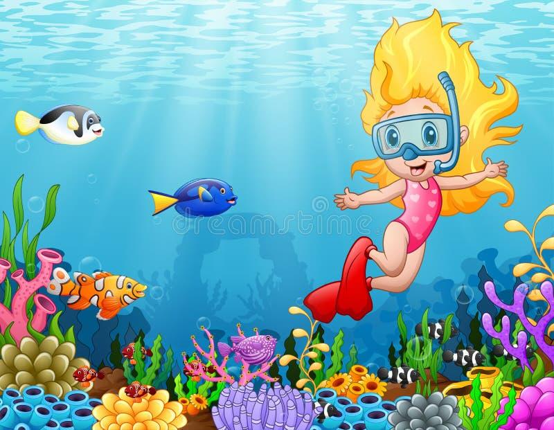 Liten flickadykning i havet royaltyfri illustrationer
