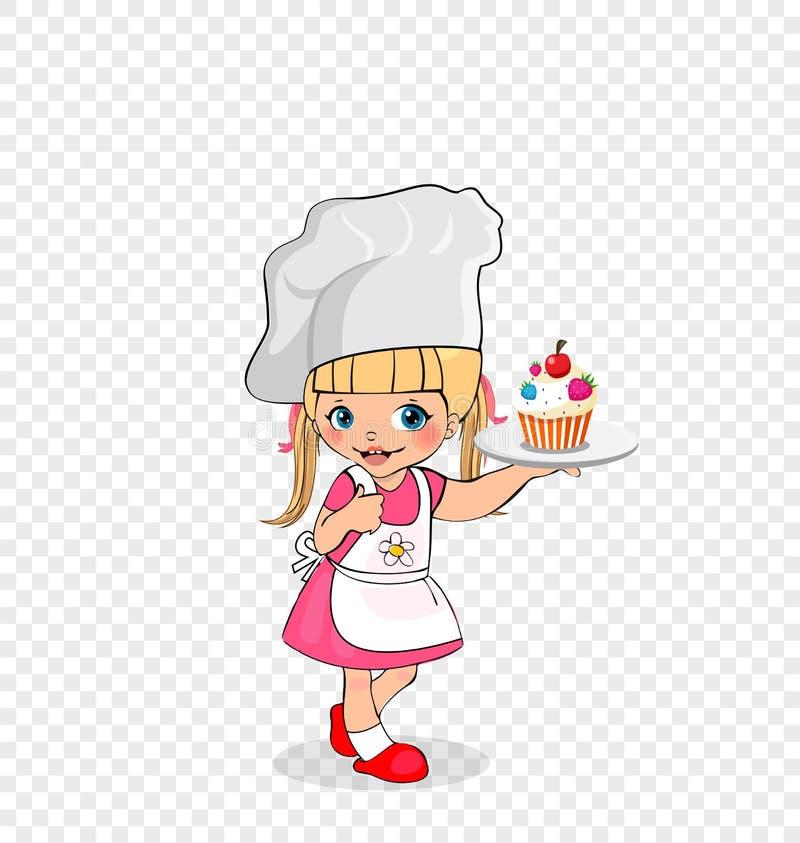 Liten flickakock med kakan på plattan, ungemeny stock illustrationer