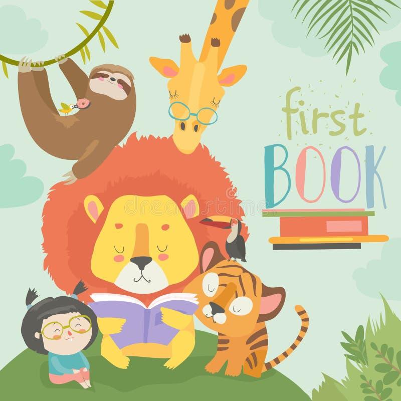 Liten flickaläsebok med tecknad filmdjuret Lejon tiger, giraff, springa royaltyfri illustrationer