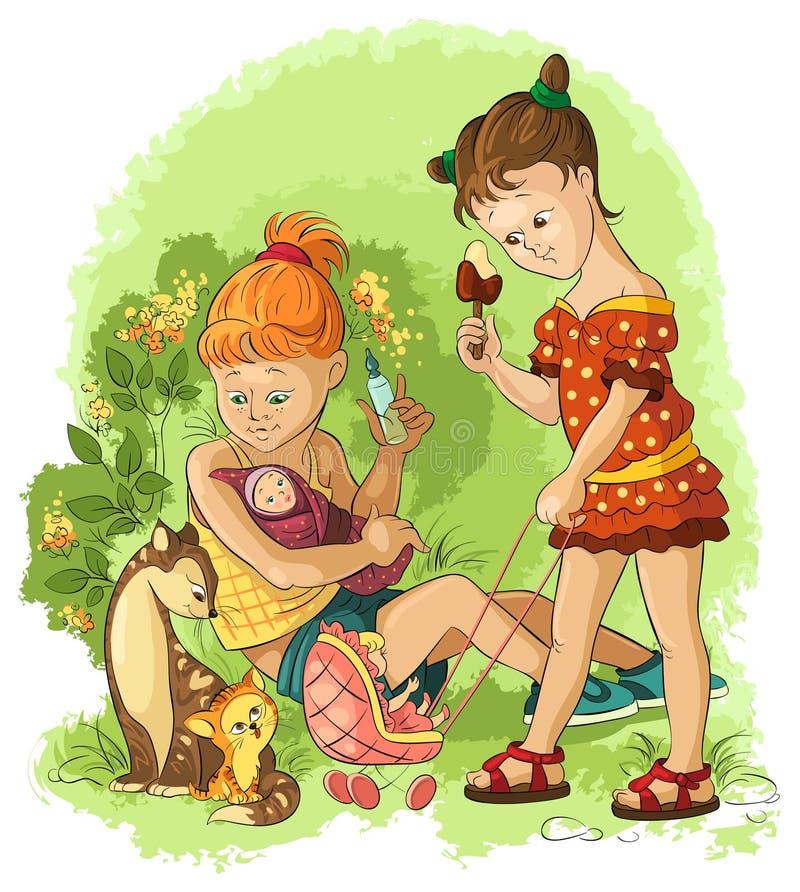 Liten flickalekar med dockor royaltyfri illustrationer