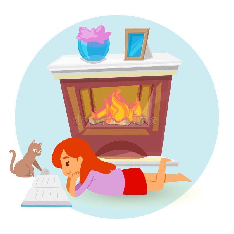 Liten flickaligga och läsebok för spisen, illustration för tecknad filmstilvektor som isoleras på vit bakgrund stock illustrationer