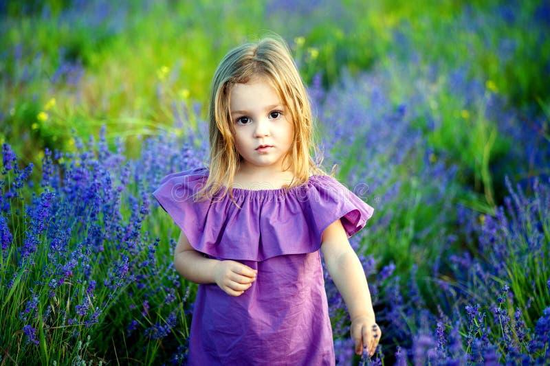 Liten flickaliten flicka i en rosa klänning som ser gjord ont och ledsen blick, i sommaren på en blomningfältbakgrund arkivbilder