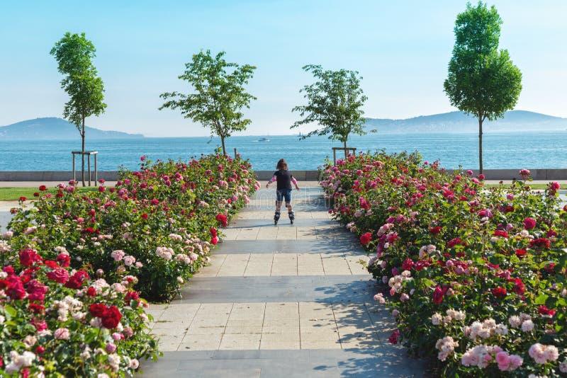 Liten flickaridning på rullskridskor över den Bostanci kusten med sikt på prinsars öar arkivbild