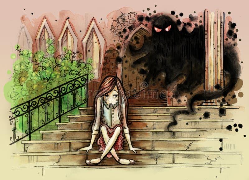Liten flickasammanträde på den gamla asfulla trappan med den onda spöken bak henne royaltyfri illustrationer