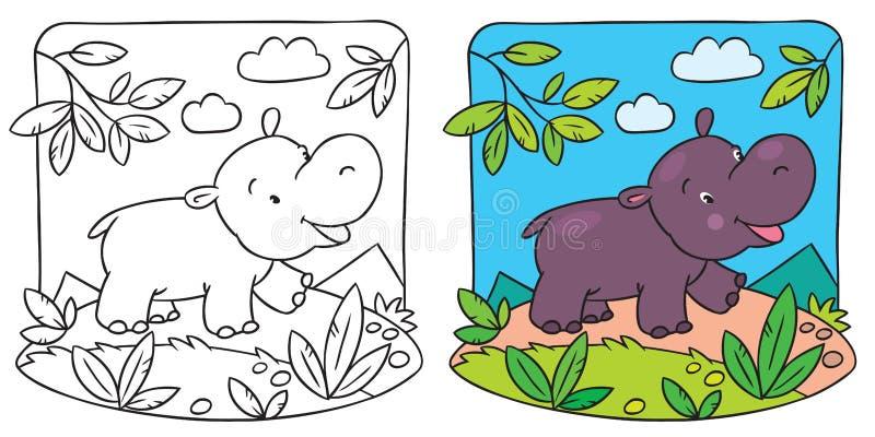 Liten flodhästfärgläggningbok stock illustrationer