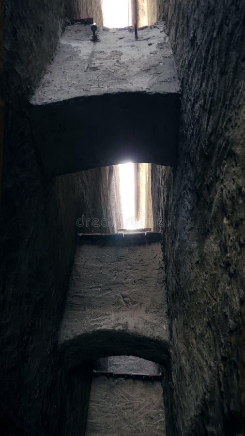 Liten gata som är smal i medeltida stad Kanalgränd med stenväggar Mörk bakgata Mystiskt begränsar mest gatan arkivfoto