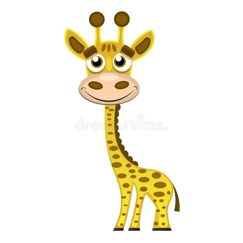 Liten giraff för gullig design för tecknad film moderiktig med stängda ögon stock illustrationer