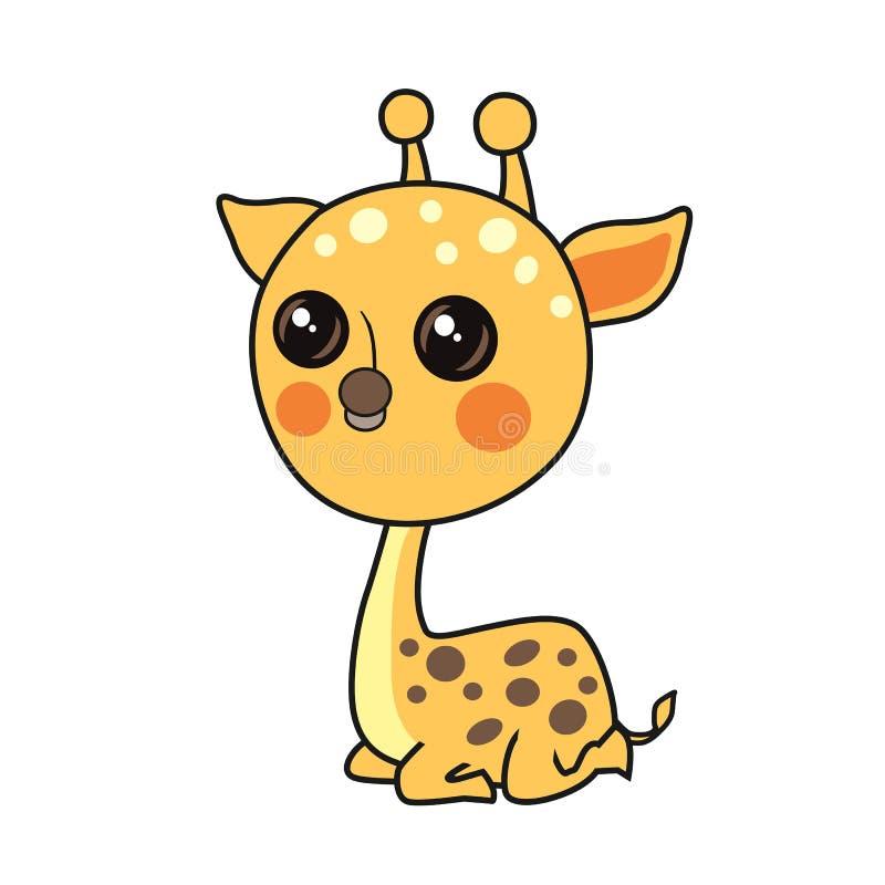 Liten giraffvektor med fläckar som isoleras på vit bakgrund royaltyfri illustrationer