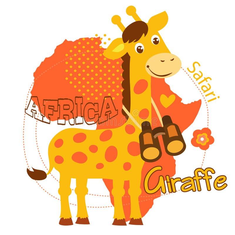 Liten giraffvektorillustration Vektor för Afrika tematecknad film vektor illustrationer