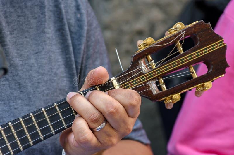 Liten gitarr med fyra rader arkivfoto