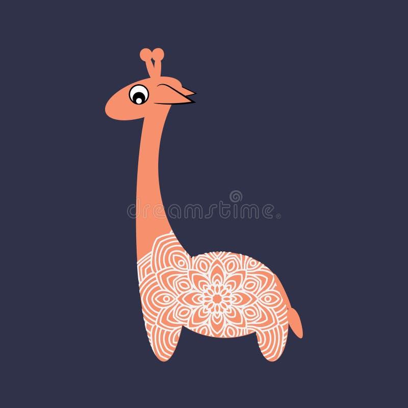 Liten gladlynt giraff Snöra åt klippning stock illustrationer