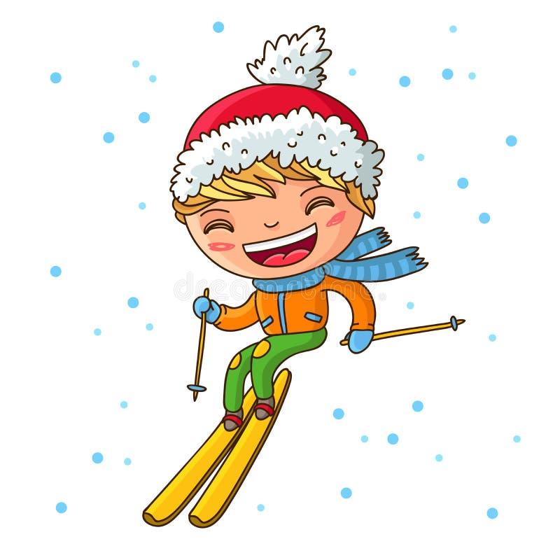 Liten gladlynt pojkeskidåkning i vintern royaltyfri illustrationer