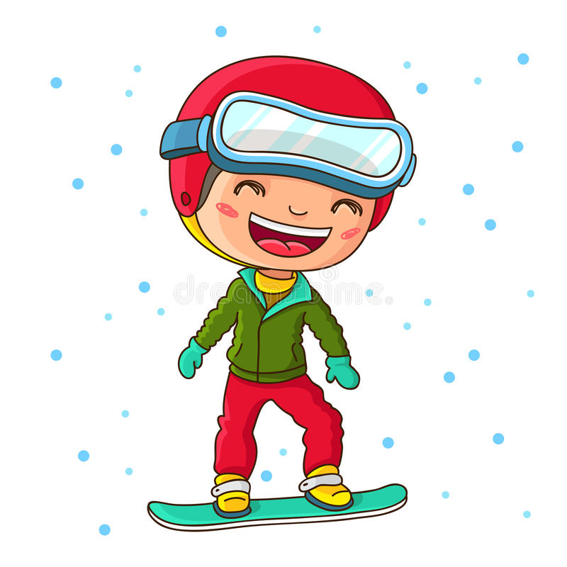 Liten gladlynt pojkesnowboarding i vintern vektor illustrationer