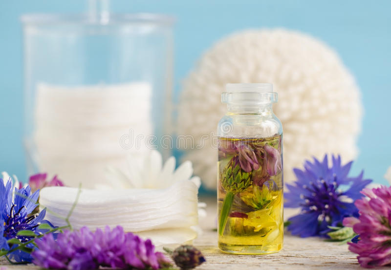 Liten glasflaska av aromskönhetsmedelolja med blommaextrakter royaltyfria foton