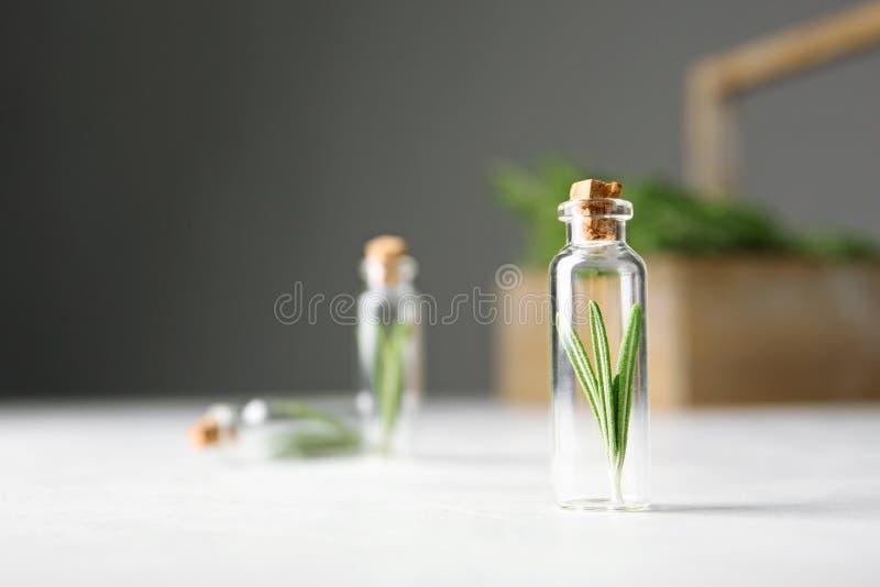 Liten glasflaska med rosmarin på tabellen arkivfoto