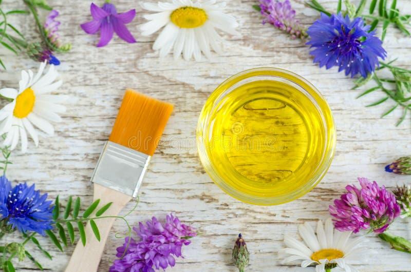 Liten glass bunke med aromskönhetsmedelolja med blommaextrakter Ingredienser av den naturliga skönhetsmedlet arkivbilder