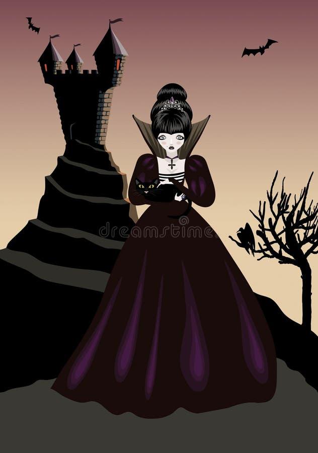 Liten gotisk prinsessa royaltyfri illustrationer
