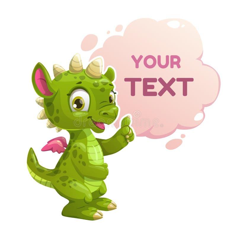 Liten grön drake för rolig tecknad film royaltyfri illustrationer